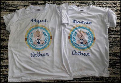 9b64c725895a8 kit 02 Camisetas Adulto Branca Gola Careca Chá de Bebê ...