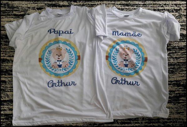 Kit 02 Camisetas Adulto Branca Gola Careca Chá De Bebê Megaduarte