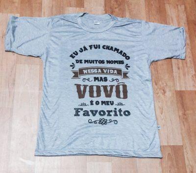 Camiseta Adulto Cinza Mescla Gola Careca Vovô